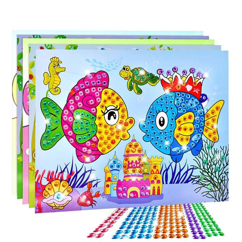 Art Sticker Mosaic Craft Kids Educational Puzzle Crystal DIY Painting Cartoon Diamond Sticker Toys Kit Toy Gem Stone 1pcs Random