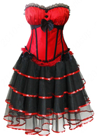 Free Shipping New Women Sexy Burlesques Busiter Corset Dress Basques Long Lingerie Costumes Set