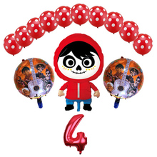 14 Pcs/lot New movie COCO Balloons Miguel Hector Dante Dog Balloon childs Birthday Party Decorations toys Kids Number