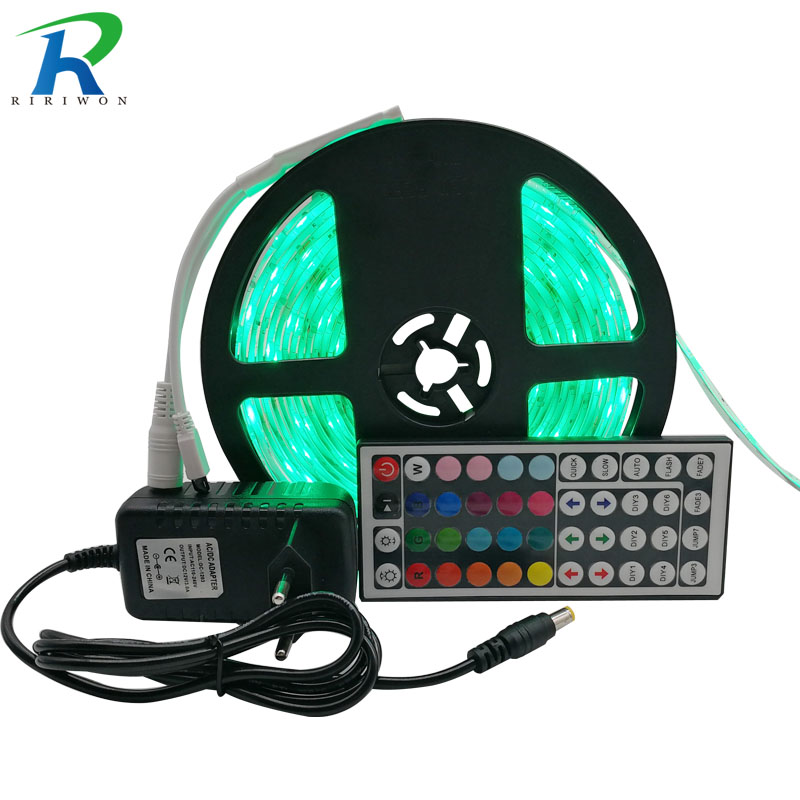 Riri won RGB LED Strip Light Waterproof SMD5050 2835 60Led 5m 10M Leds tape diode Controller DC 12V Power supply AC110V 220V set