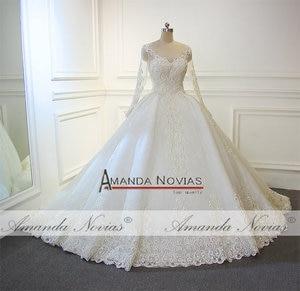 Image 2 - Robe de mariée en dentelle, nouveau Design, robe de mariée luxueuse, pleine perlée, 2019