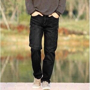 Image 4 - ICPANS Men Jeans Pants Stretch Straight Loose Black Cargo Denim Jeans Men Zipper 2019 New Big Size 40 42 44