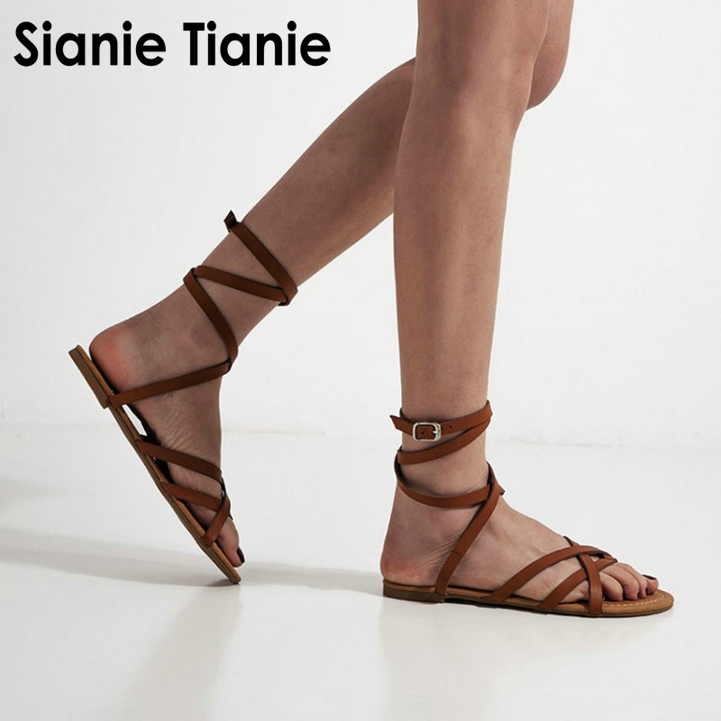 Women Gladiator Flop Sandals Flats-Shoes Flip Big-Size Casual Cross-Strap New 48 47 Sianie