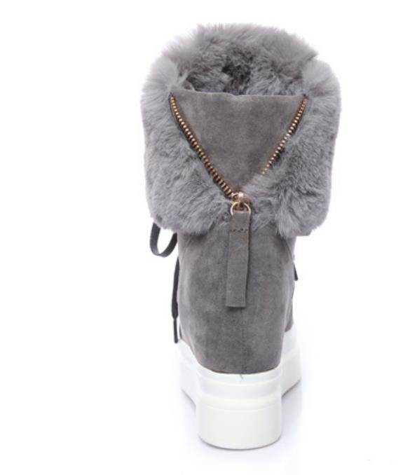 Femmes Coton Un Pente Augmenté Black Neige Garder Épais Plancher Talon Courtes A1 Au En Cuir A2 Chaussures black Dentelle Bottes De A011 Chaud Chaussons rpaYrXq