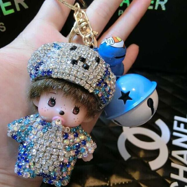 Bear Hat Monchichi Key Chain Sleutelhanger Strass Keychain Keyring Novelty Women Car Bag Purse Charm Porte Clef Fourrure M10