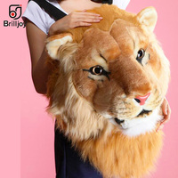 Brilljoy Personality Couple Animal Backpack Plush 3D Tiger Lion Head Backpack Panda Backpack Unisex Student Funny Travel Bag2019