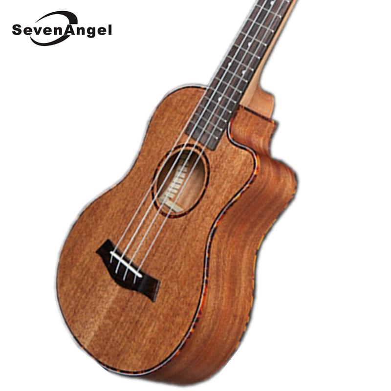 SevenAngel 26 inch Tenor Mahogany Ukulele Missing Angle Ukelele Mini Hawaiian Guitar Electric Ukulele with Pickup EQ