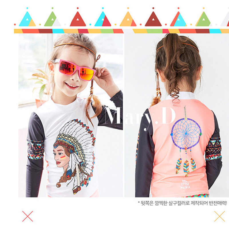52ec2a88f8a ... sunny eva girls swimsuit two piece swim suit kids Indian head print  long sleeve swimwear with ...