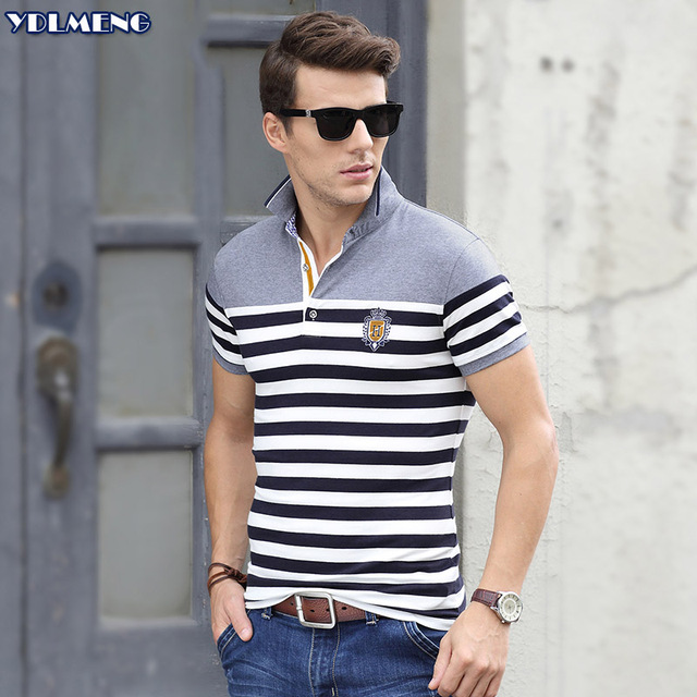 Polo Men Short  Sleeve Striped Turn Down Collar Male Tops Cotton Brand Men Grey xxxl Plain Mens Clothing Summer Slim fit