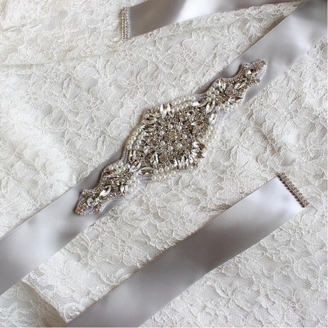 Elegant Wedding Dress Bride Crystal Belt in Champagne Dark Green Pink Nude Color Pearls Wedding Belts From China In stock