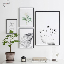 Minimalst Flower Leaf Word Panting Nordic Landscape Canvas Picture Wall Art Poster Printed Nursery Room Decor No Framed