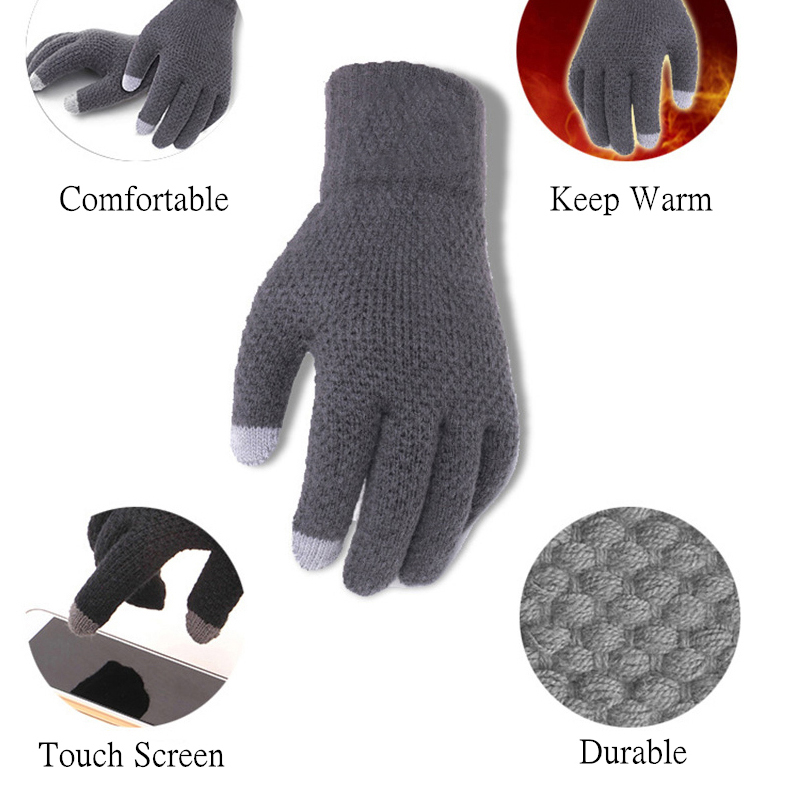 Warm and soft Knitted Touch Screen Gloves for Men Suitable during Winter and Autumn Made of Acrylic and Polyester Material 2