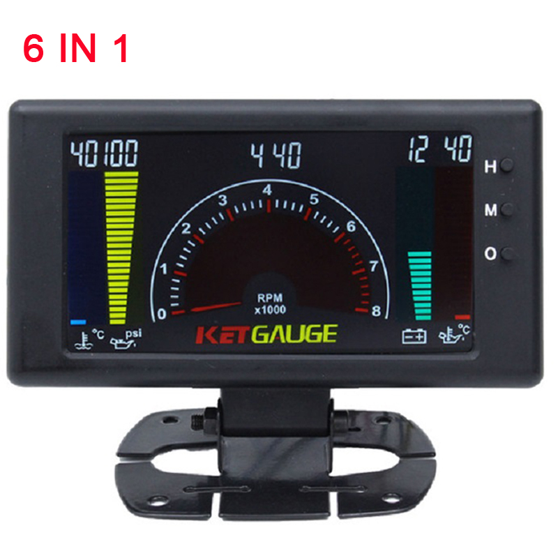 6 in 1 LCD Car Digital Gauge Oil Pressure Voltage Water Temperature Oil Temperature Time Tachometer tacometro rpm meter Gauge in Tachometers from Automobiles Motorcycles
