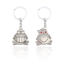 цена 1 Pair Of Fashion Animal Lovers Keychain Love Your Heart Big Mouth Love You Frog Key Chain Ring For Couple Female Men's Jewelry