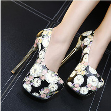 Women Pumps 2016 Sexy Flower pattern Round Toe Ladies Pumps High Heels Shoes Wedding Shoes