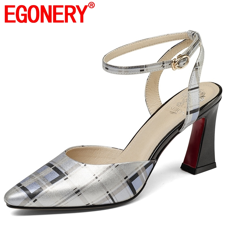 EGONERY women shoes new genuine leather gingham buckle strap high square heels shallow fashion sexy large size lady sandalsEGONERY women shoes new genuine leather gingham buckle strap high square heels shallow fashion sexy large size lady sandals