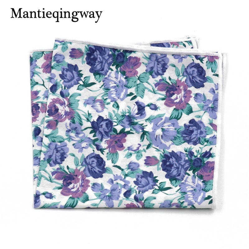 Mantieqingway Handkerchiefs Men Cotton Floral Handkerchief Pocket Squares Formal Wear Business Suit Printed Hankies For Wedding