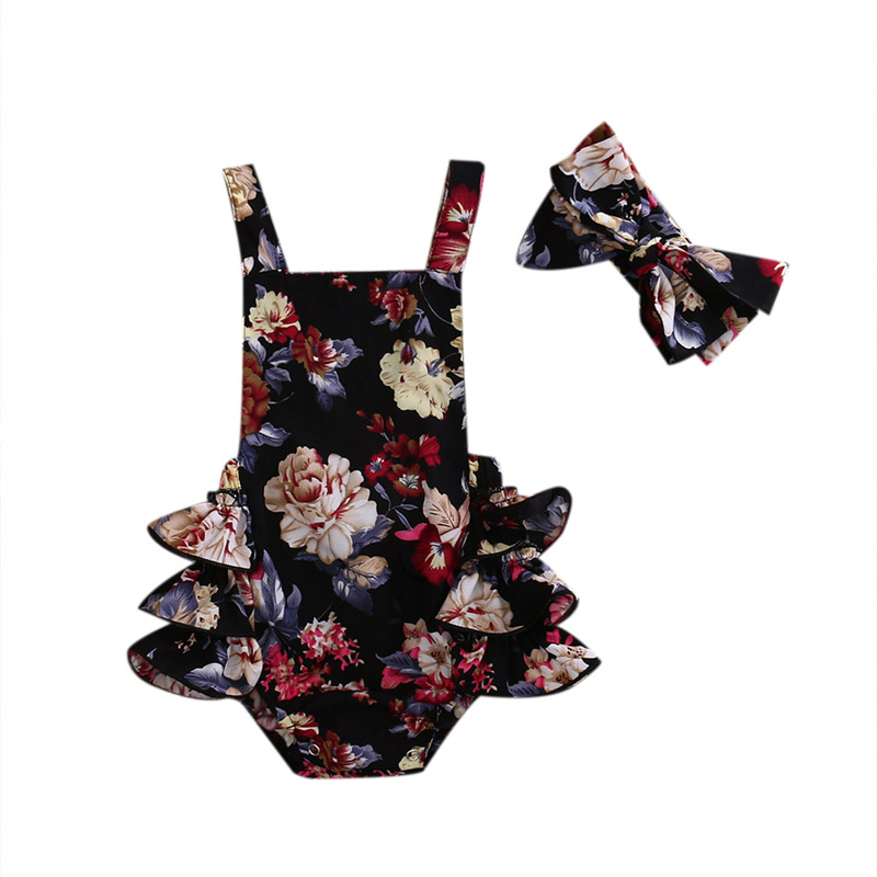 2PCS Newborn Toddler Baby Girls Clothes Flower Romper Sleeveless Jumpsuit Outfits Headband Clothes