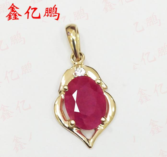 18 k gold inlay Burma natural ruby pendant female 1.5 carat precious colored gems Birthday present special