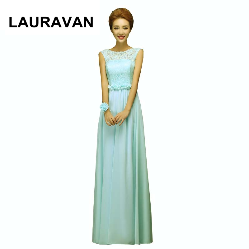 2018 long chiffon light mint blue lace sister of the bride a line   bridesmaid     dresses   new long formal   dress   free shipping