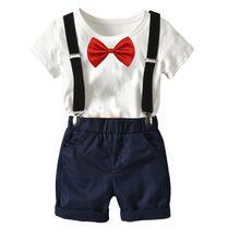 f41c921f0f2f 2018 New 2Pcs Summer Boys Fashion Clothing Set Baby Boys 100% Cotton T-Shirt  + Brace Short Pants Children School uniform 2-7Y