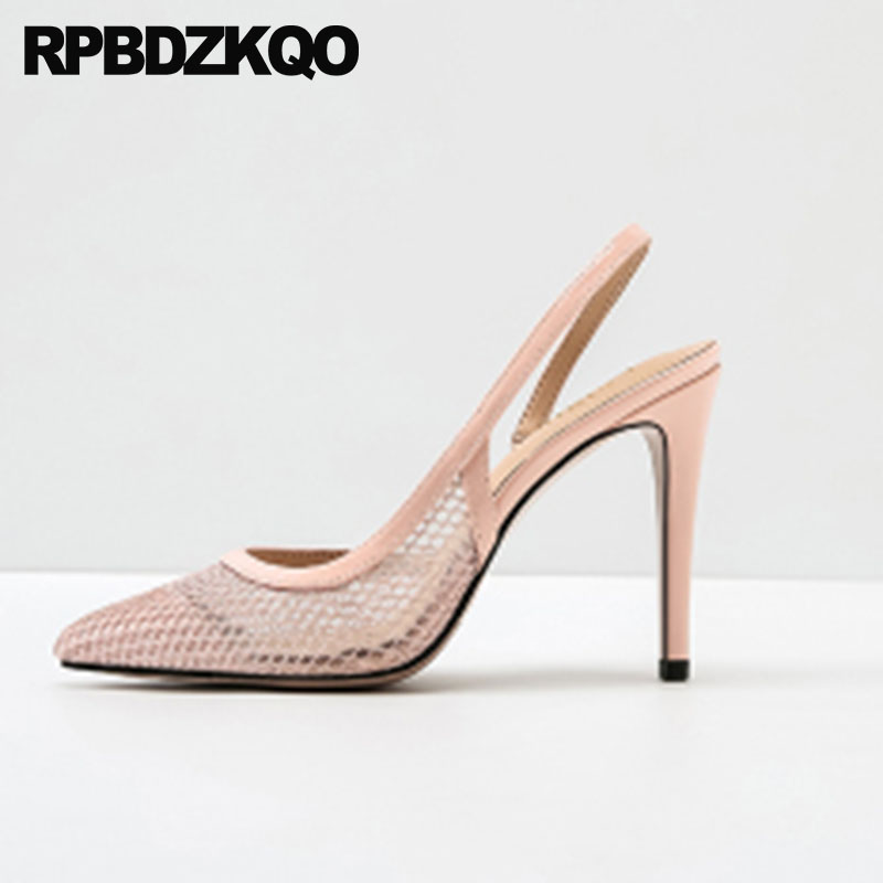где купить Ladies Plus Size Party Stiletto Pink Pointed Toe Shoes 33 Strap 4 34 Silver High Heels Sandals Slingback Mesh 12 44 11 43 Pumps по лучшей цене