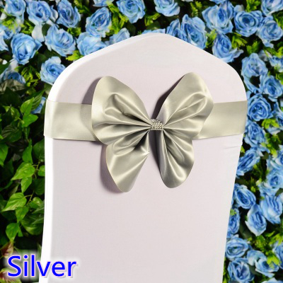 Silver colour chair sash wedding mini style butterfly bow tie lycra band stretch bow tie ribbon for chair covers on sale