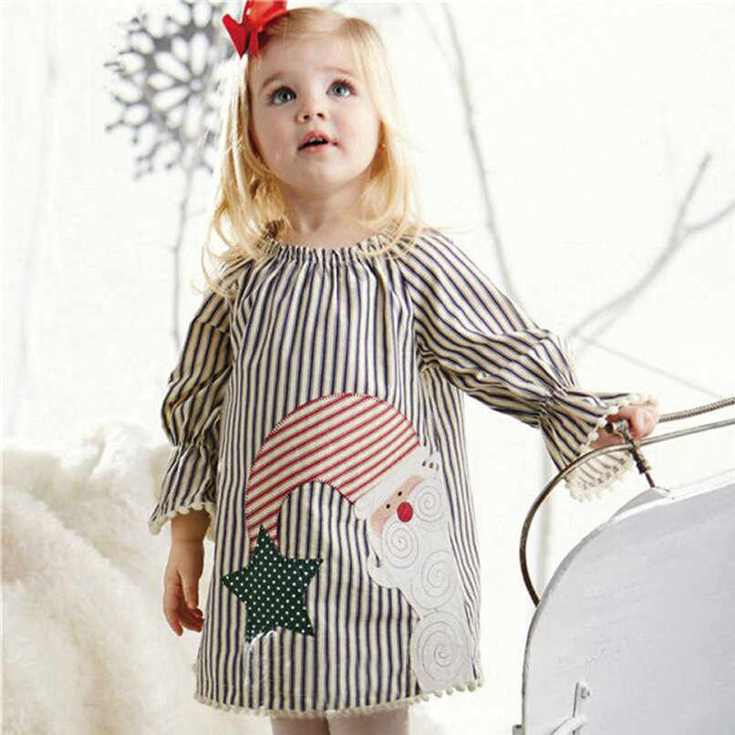 Christmas Clothes Girl Clothes Girls Dress Toddler Baby Kids Girls Santa Printed Striped Long Sleeve Princess Dress #BL0