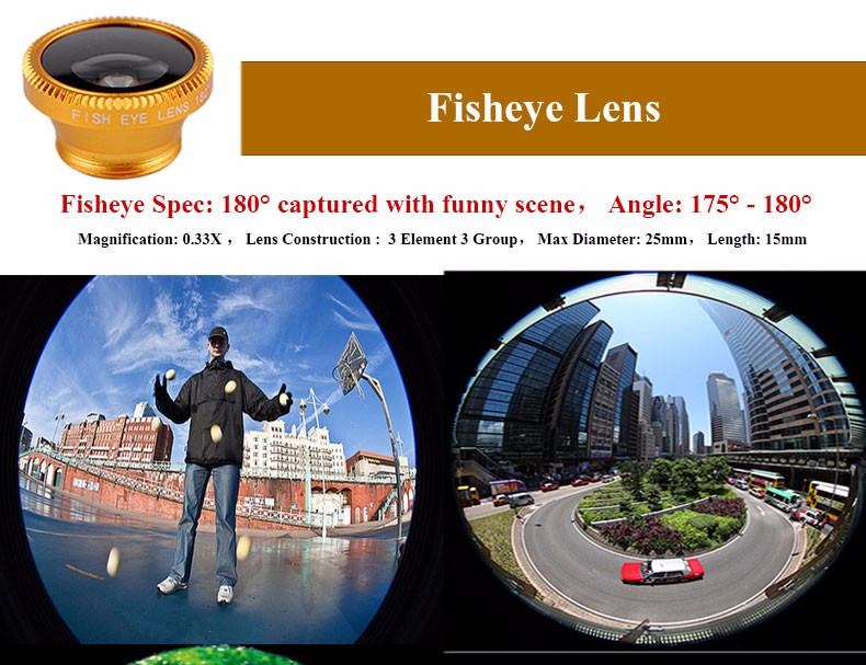 New Fish Eye lens,Wide Angle + Clear Macro Lens For Iphone 5s 6 7 Universal 3 in 1 Phone Camera Len For Sansung Huawei Sony HTC 3