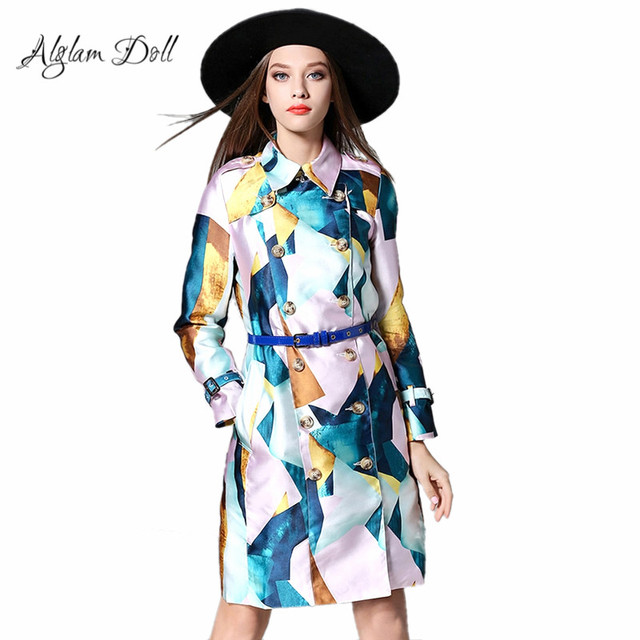 Alglam Doll Turn-down Collar Women Trench Double Breasted Knee-Length Coat Ladies Female Casual High Waist Slim 2017 Outerwear