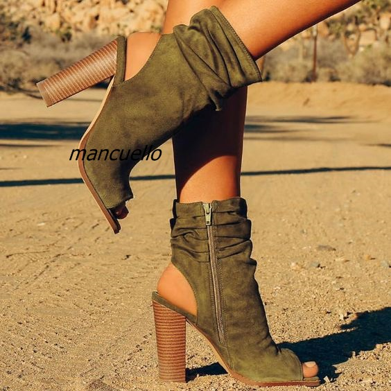 Chic Dark Brown Suede Chunky Heel Ankle Boots Trendy Pleated Design Sexy Slingback Block Heel Sandal Booties Pretty Shoe New