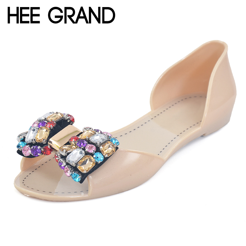 HEE GRAND 2017 Jelly Shoes Woman Summer Crystal Jelly Sandals Beach Slip On Flats Casual Bling Women Shoes Size 35-40 XWZ3468 hee grand lace up gladiator sandals 2017 summer platform flats shoes woman casual creepers fashion beach women shoes xwz4085