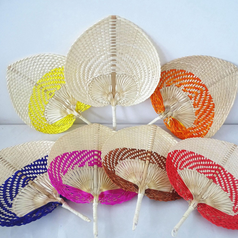 10pcs/lot Pure Hand-woven Large Fan Natural Bamboo Hand Fan Portable Gift Party Wedding Supplies