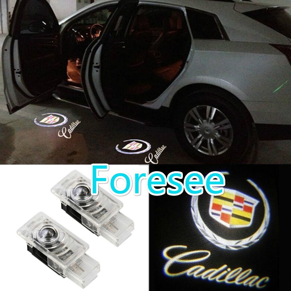 Foresee 2pcs (For CADILLAC) Car Door Lights LED Welcome Projector Logo Ghost Shadow Door Light LED Courtesy Laser
