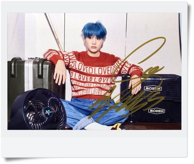 signed BTS SUGA autographed  photo LOVE YOURSELF  4*6 inches  freeshipping 092017B