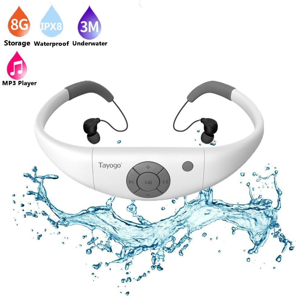 Tayogo HIFI Headphone MP3 kalis air dengan Bluetooth Radio FM Pedometer Underwater USB MP3 Music Player untuk Kolam Sukan menyelam