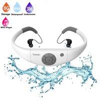 Tayogo HIFI Waterproof MP3 headphone with Bluetooth Radio FM Pedometer Underwater USB MP3 Music Player for Swimming Sport diving