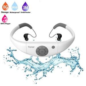 Image 1 - Tayogo HIFI su geçirmez MP3 kulaklık ile Bluetooth radyo FM pedometre sualtı USB MP3 müzik çalar yüzme spor dalış