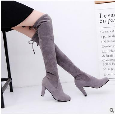Popular Plus Size Grey Suede Thigh High Boots-Buy Cheap Plus Size ...