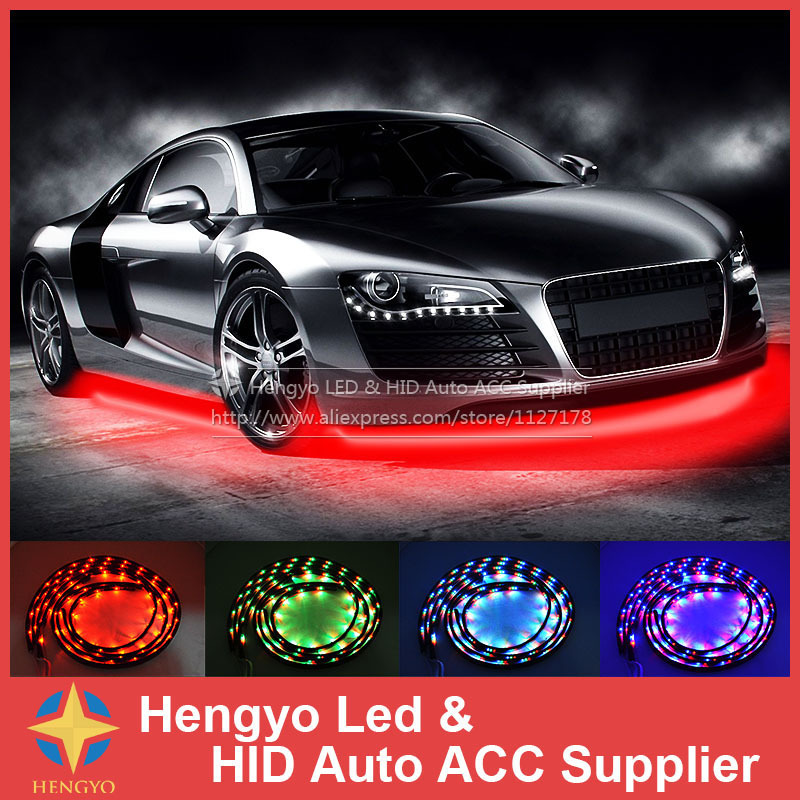90*120CM High Quality 7 Color LED RGB Strip Flash Light Under Car Glow Underbody System Neon Lamp Kit Remote night lord ip68 waterproof 90 120 colorful led under car light rgb chip auto chassis light kit with remote control free shipping