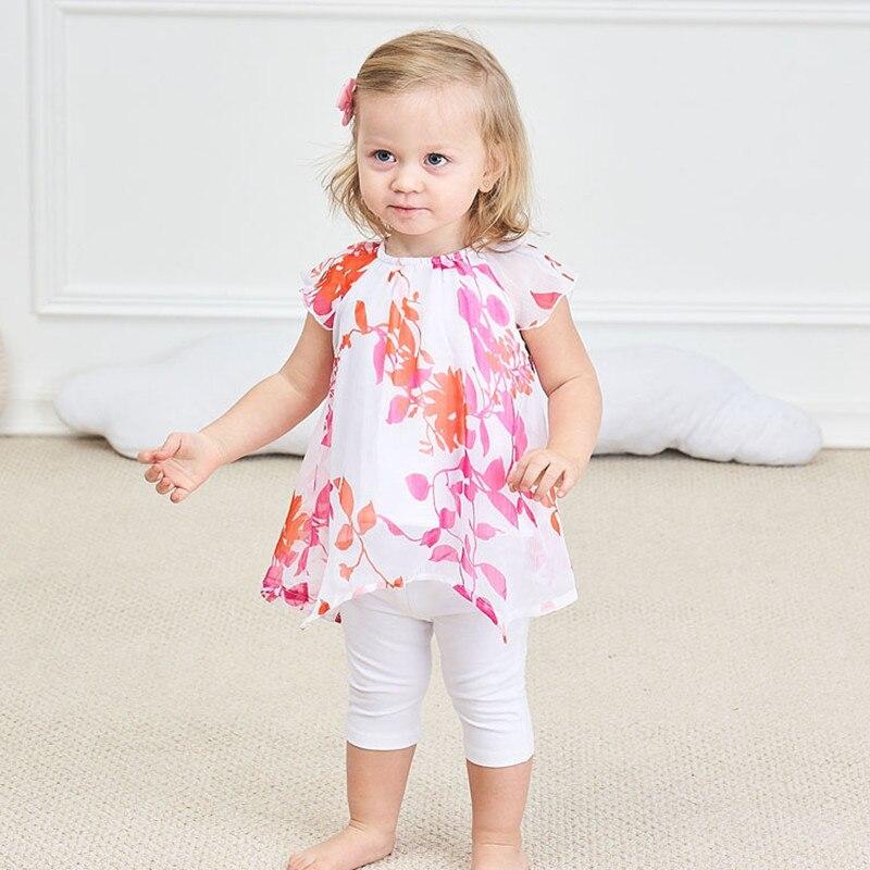 Drukowanie Baby Girl Clothes Set Kids Letnie szyfonowe bluzki + - Odzież dla niemowląt - Zdjęcie 1