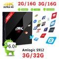 Original S912 H96 PRO Plus + Android 6.0 TV Box Amlogic 2G 16G 3G 32G Smart TV Box WIFI LAN Gigabit Bluetooth4.1 4 K Medios jugador