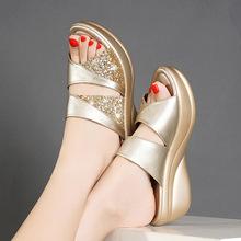 Kobiety kapcie letnie platformy klinowe z wystającym palcem obuwie casual panie kolor mieszania slajdów buty na plażę kobieta zapatos de mujer C244 tanie tanio LYOXVQEL Kliny Lato Gumowe Kryty Płytkie Med (3 cm-5 cm) Pasuje prawda na wymiar weź swój normalny rozmiar Dla dorosłych