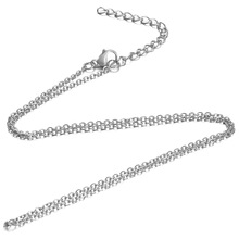 5pcs/lot 316L Stainless Steel 1.6mm Tiny Cross Rolo Link Chain Silver Tone Men Adjustable Cable Necklace 40-80cm Length