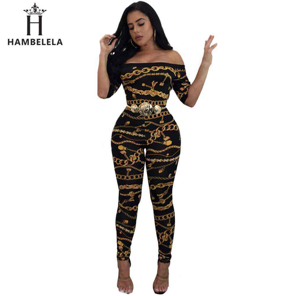 HAMBELELA 2017 New Women Sexy Bodycon   Jumpsuit   Off The Shoulder Slash Neck Stretchy Printed Brand Party Long Rompers Overalls