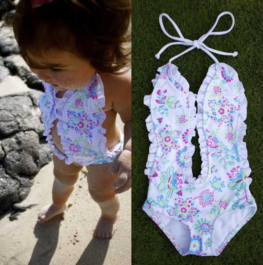 Little Girls One-piece Floral Halter Swimsuit Baby Girl  Flower Beachwear Bathing Suit  Swimwear  Swimmers Bikini Costume one piece mexican bola cage cell little girl harmony angel caller sound bell necklace