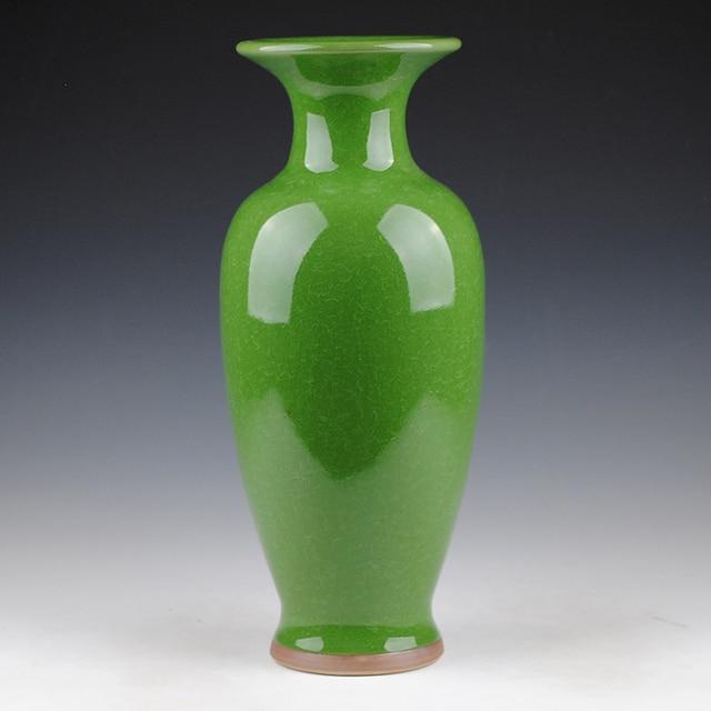Jingdezhen Keramik Porzellan Vase Grün Antiken Ofen Knistern Glasur