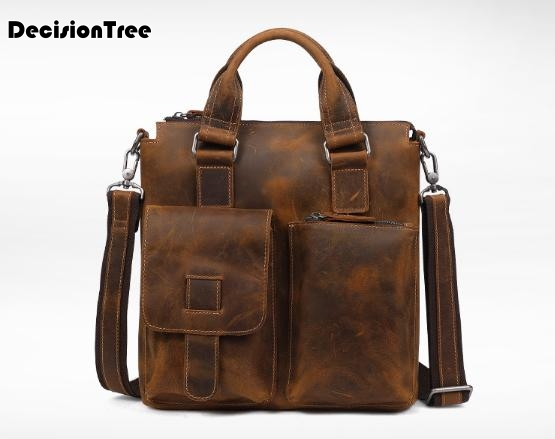 Dainty Genuine Leather Briefcase Vintage Men Shoulder Cowhide Bag Multi Pockets Large Capacity Mens Handbag Bolso Hombre L62