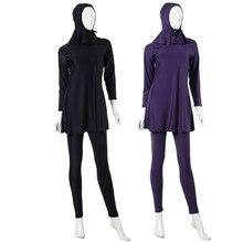 3 Pcs Lady Muslim Full Cover Swimsuit Hood+Long Sleeve Top+ Pant Islamic Swimwear Plus Size XS-XXXL V2