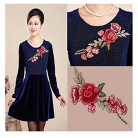 2 Piece Colorful Venise Lace Patches Roseo Flower Embroidery Decorated Sewing Neckline Collar Applique Trims For Dress NL002